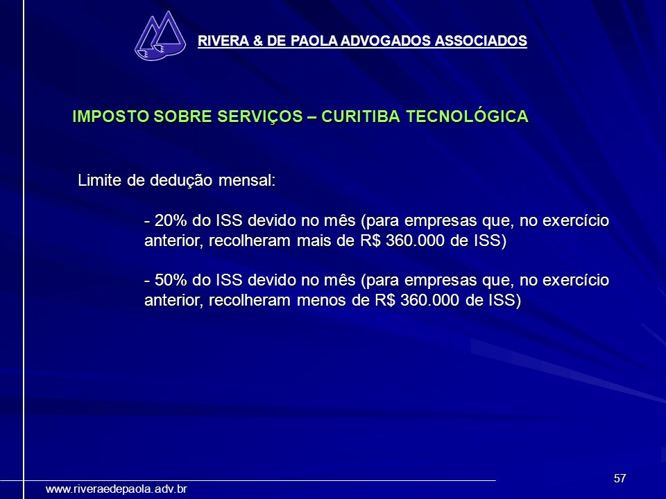 IMPOSTO SOBRE SERVIÇOS – CURITIBA TECNOLÓGICA
