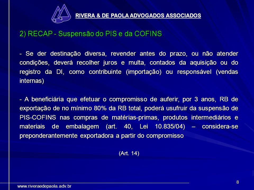 2) RECAP - Suspensão do PIS e da COFINS