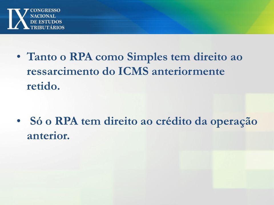 Tanto o RPA como Simples tem direito ao ressarcimento do ICMS anteriormente retido.