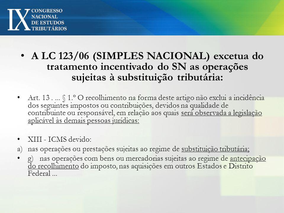 A LC 123/06 (SIMPLES NACIONAL) excetua do tratamento incentivado do SN as operações sujeitas à substituição tributária: