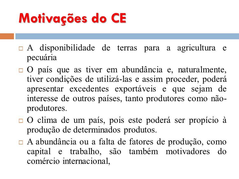 Motivações do CE A disponibilidade de terras para a agricultura e pecuária.