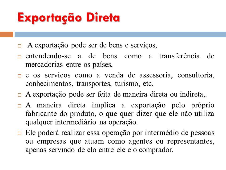 Exportação Direta A exportação pode ser de bens e serviços,