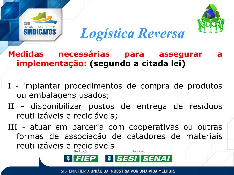 Logística Reversa Medidas necessárias para assegurar a implementação: (segundo a citada lei)