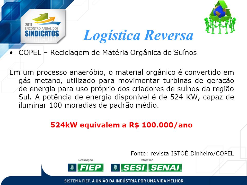 Logística Reversa COPEL – Reciclagem de Matéria Orgânica de Suínos