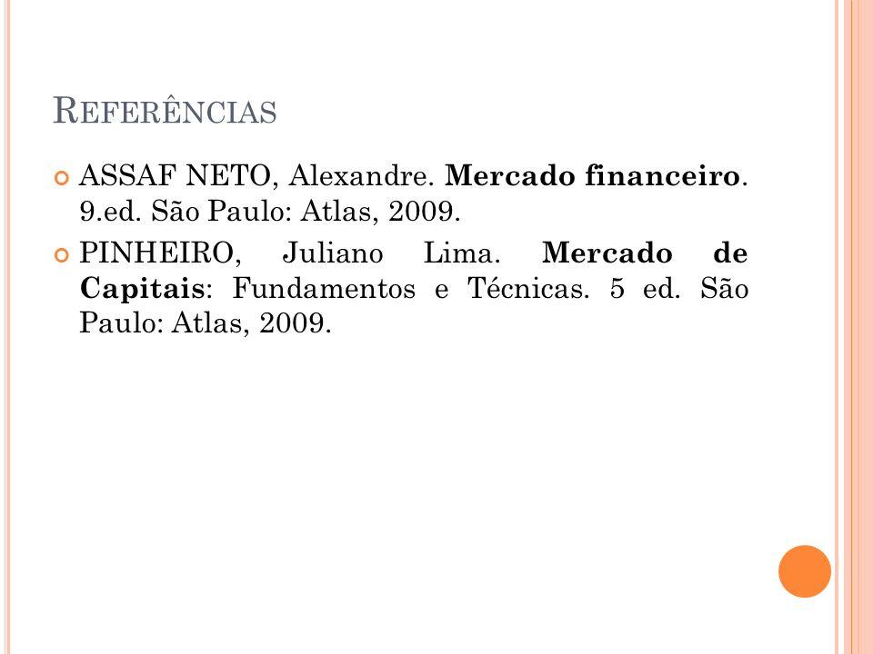 Referências ASSAF NETO, Alexandre. Mercado financeiro. 9.ed. São Paulo: Atlas, 2009.