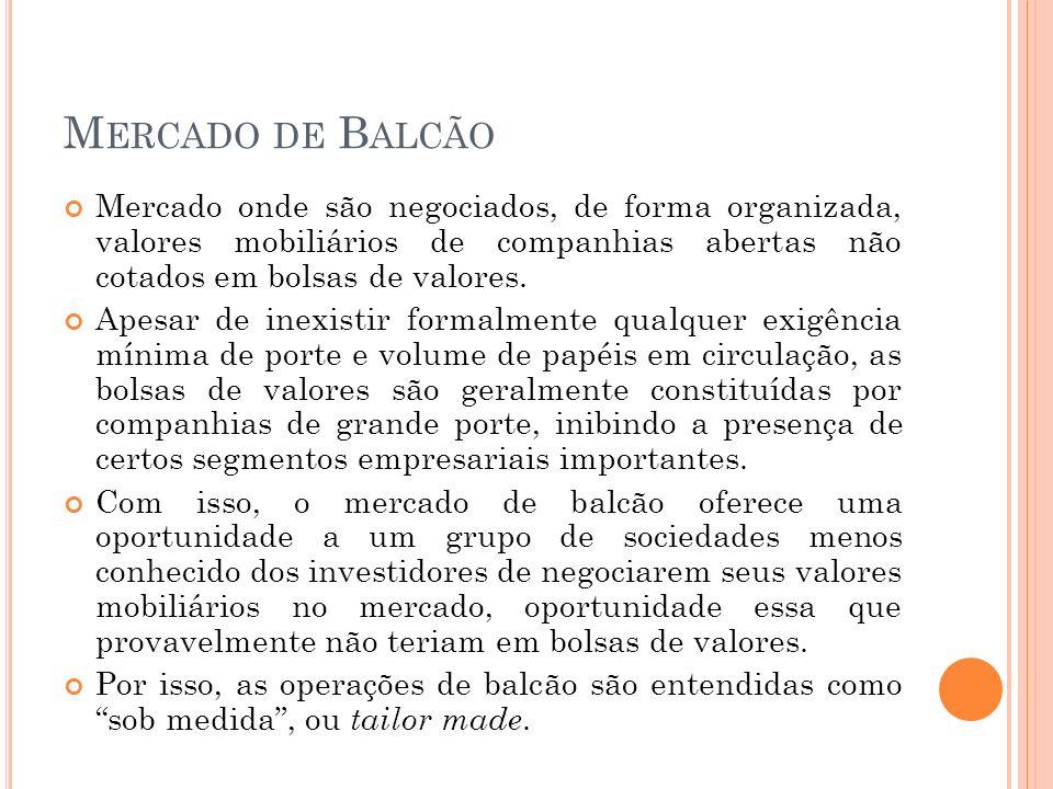 Mercado de Balcão Mercado onde são negociados, de forma organizada, valores mobiliários de companhias abertas não cotados em bolsas de valores.