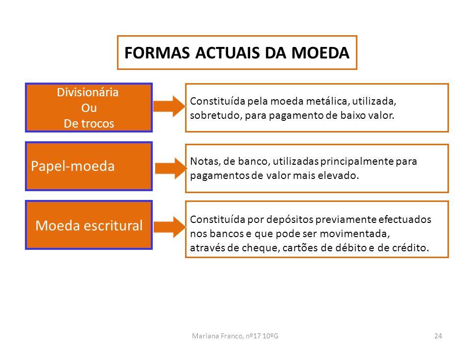 FORMAS ACTUAIS DA MOEDA