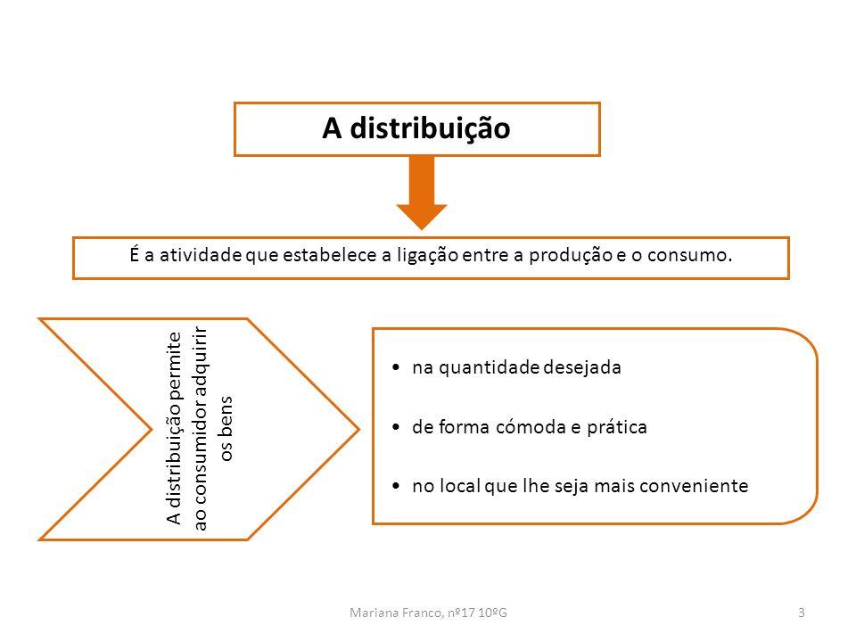 A distribuição É a atividade que estabelece a ligação entre a produção e o consumo. A distribuição permite ao consumidor adquirir os bens.
