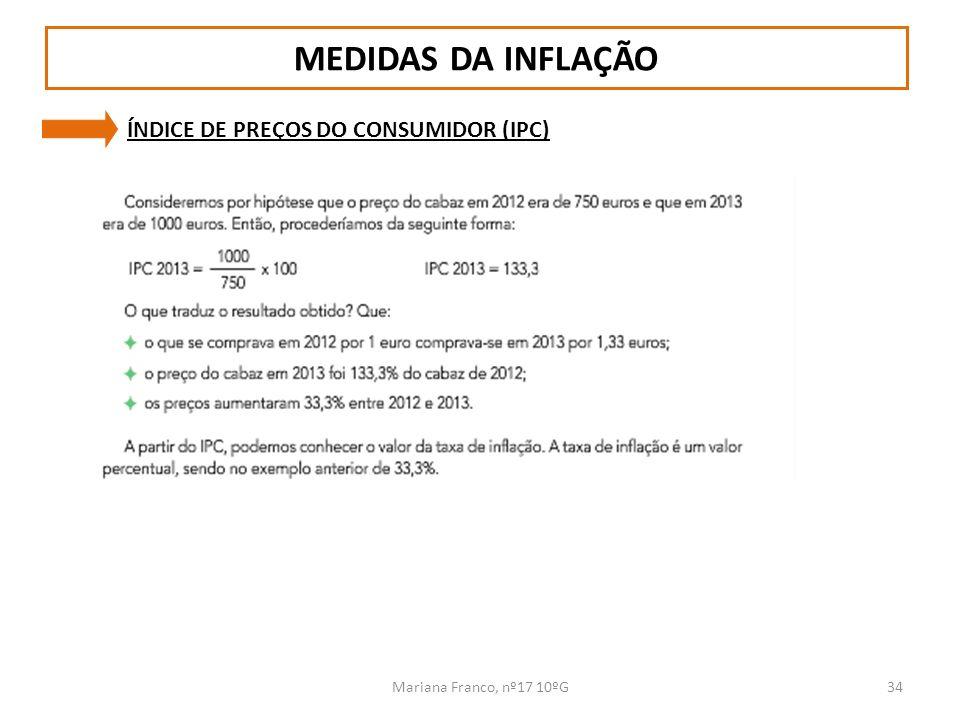 MEDIDAS DA INFLAÇÃO ÍNDICE DE PREÇOS DO CONSUMIDOR (IPC)
