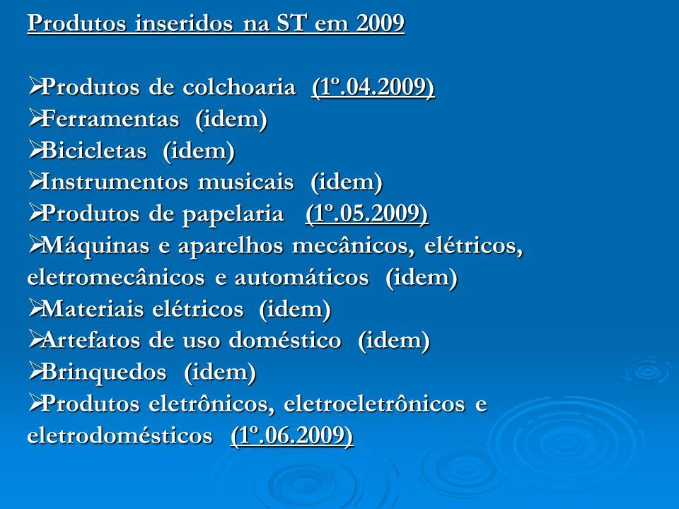 Produtos inseridos na ST em 2009