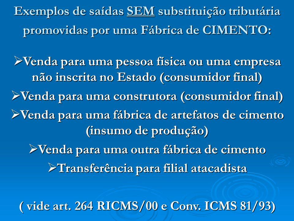 Exemplos de saídas SEM substituição tributária