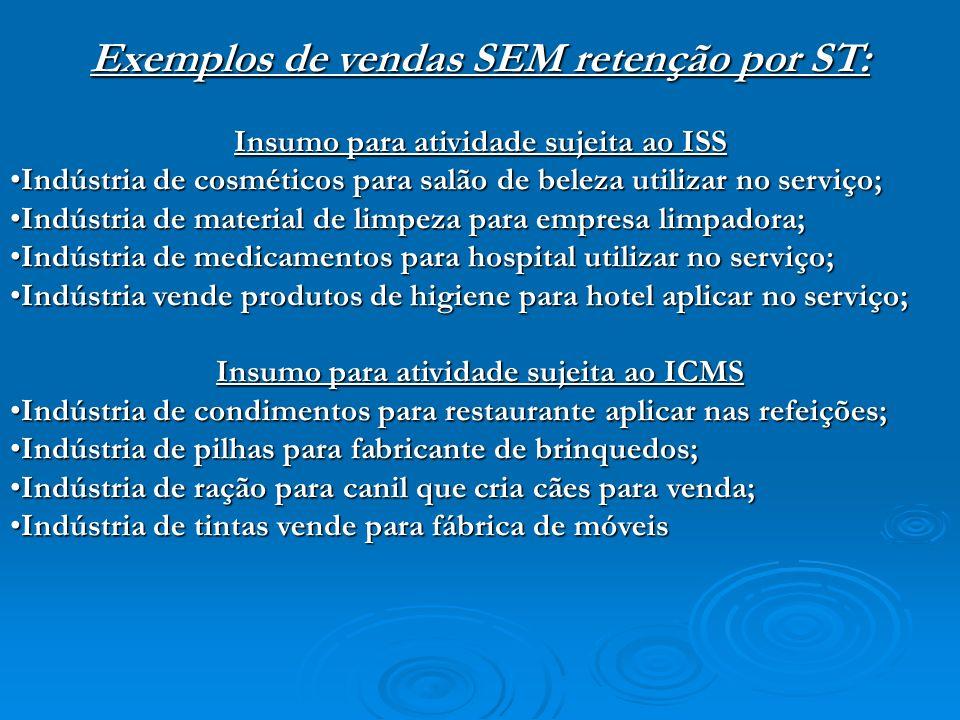 Exemplos de vendas SEM retenção por ST:
