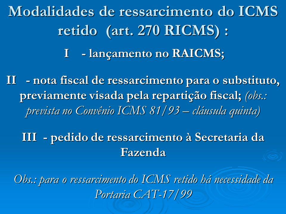 Modalidades de ressarcimento do ICMS retido (art. 270 RICMS) :