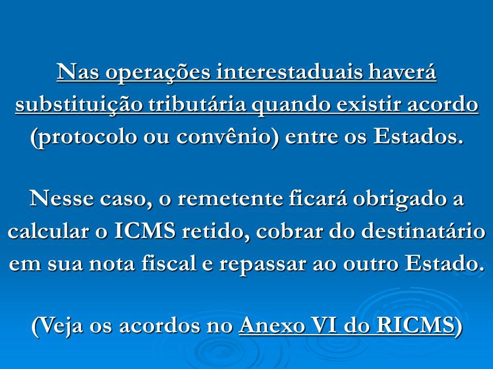 (Veja os acordos no Anexo VI do RICMS)