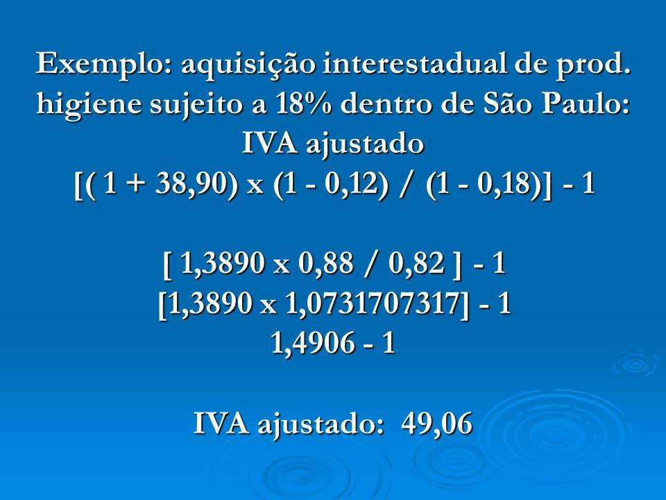 Exemplo: aquisição interestadual de prod