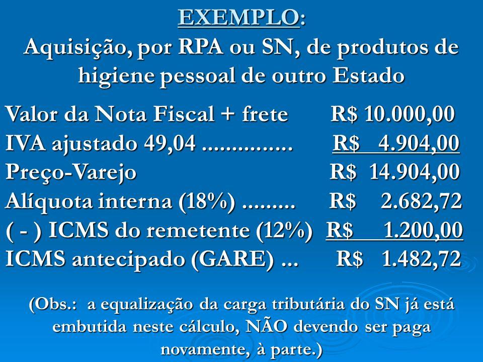 Valor da Nota Fiscal + frete R$ 10.000,00