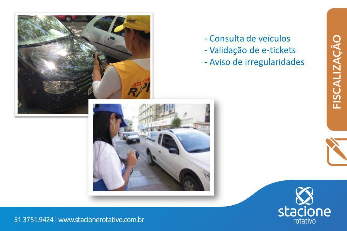 Consulta de veículos Validação de e-tickets Aviso de irregularidades