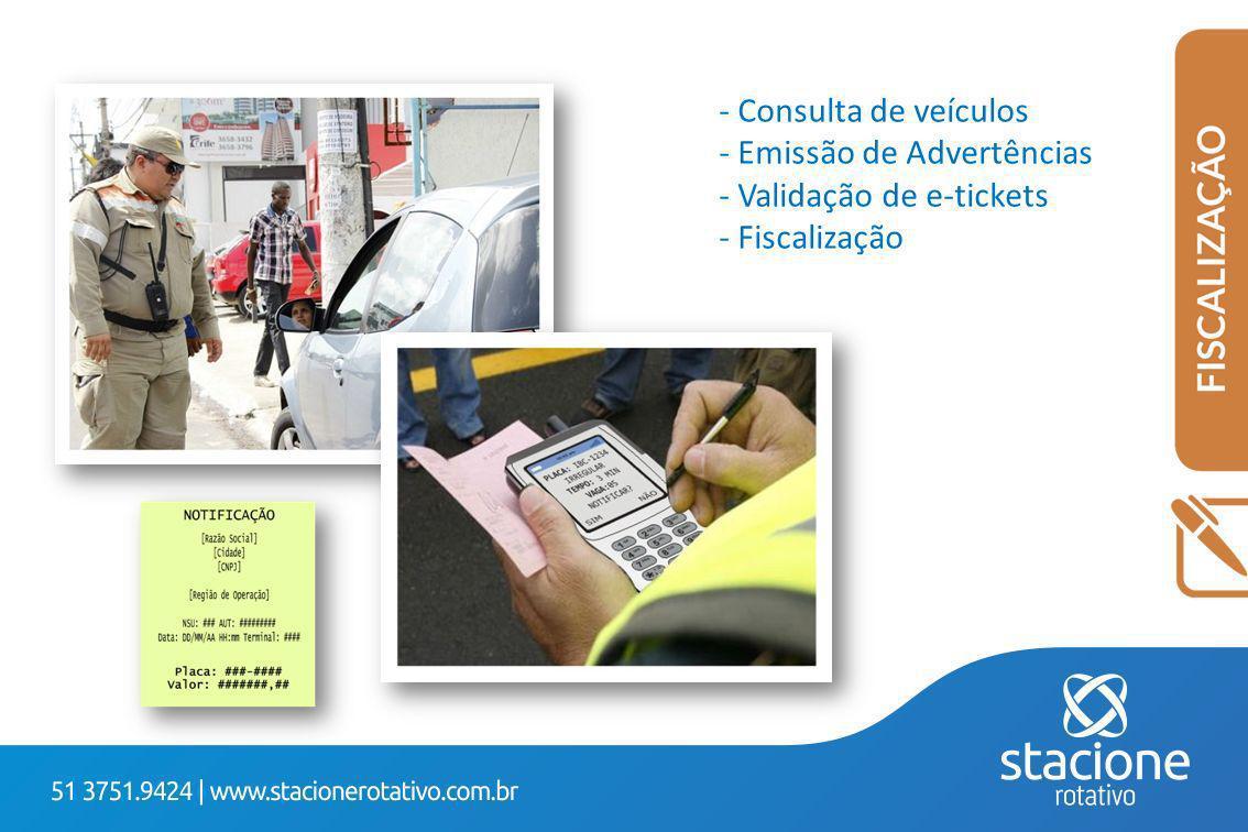 Consulta de veículos Emissão de Advertências Validação de e-tickets Fiscalização