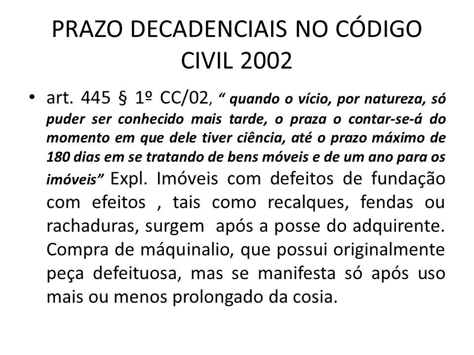 PRAZO DECADENCIAIS NO CÓDIGO CIVIL 2002