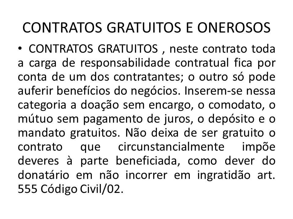 CONTRATOS GRATUITOS E ONEROSOS