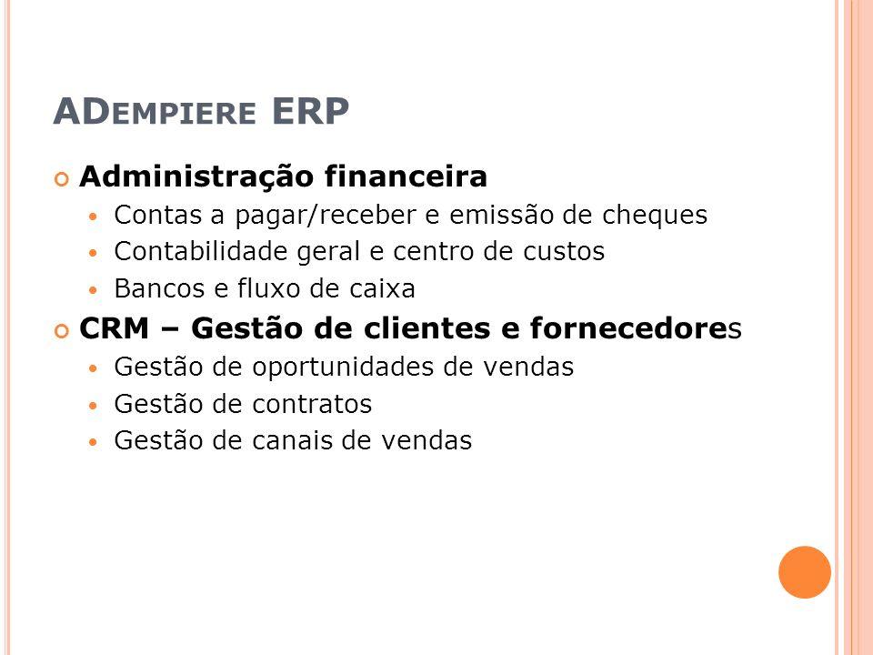 ADempiere ERP Administração financeira