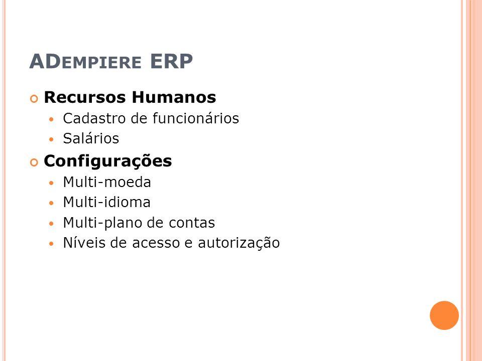 ADempiere ERP Recursos Humanos Configurações Cadastro de funcionários