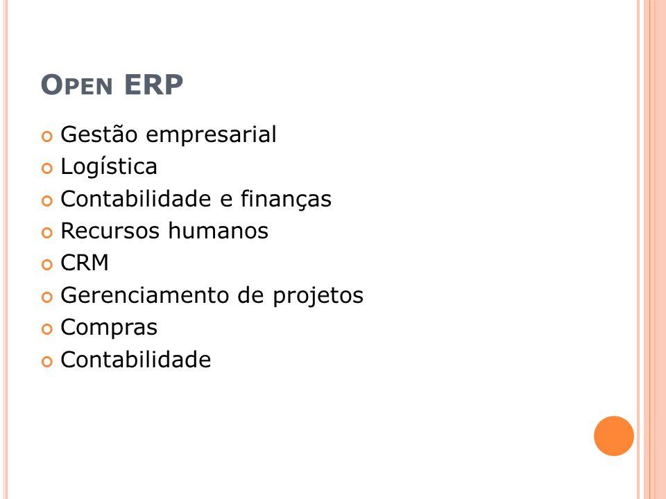 Open ERP Gestão empresarial Logística Contabilidade e finanças