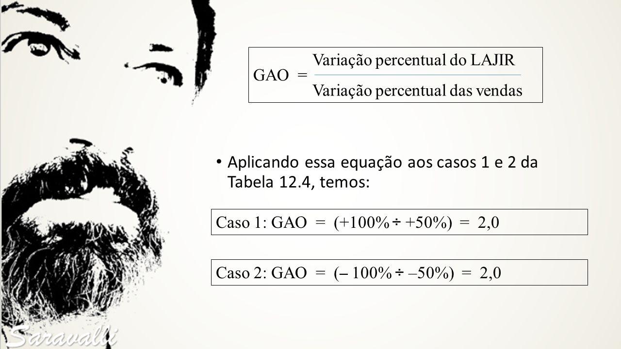 Aplicando essa equação aos casos 1 e 2 da Tabela 12.4, temos: