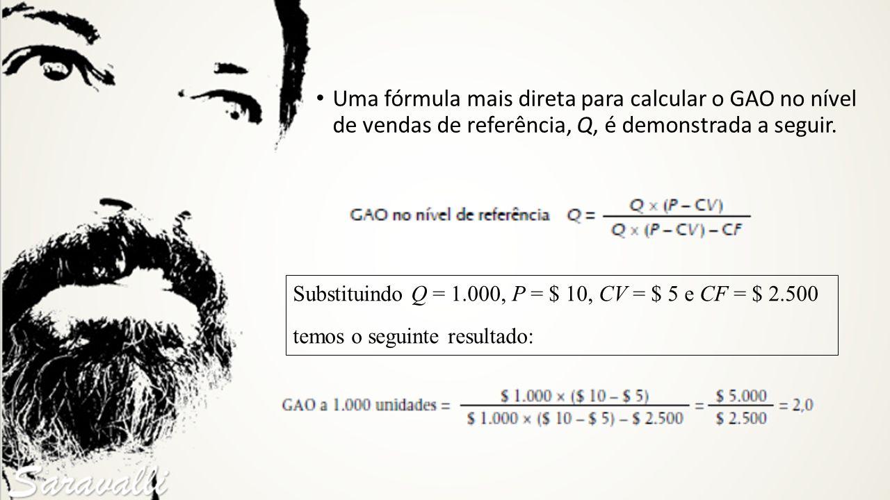 Uma fórmula mais direta para calcular o GAO no nível de vendas de referência, Q, é demonstrada a seguir.