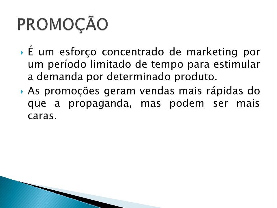 PROMOÇÃO É um esforço concentrado de marketing por um período limitado de tempo para estimular a demanda por determinado produto.