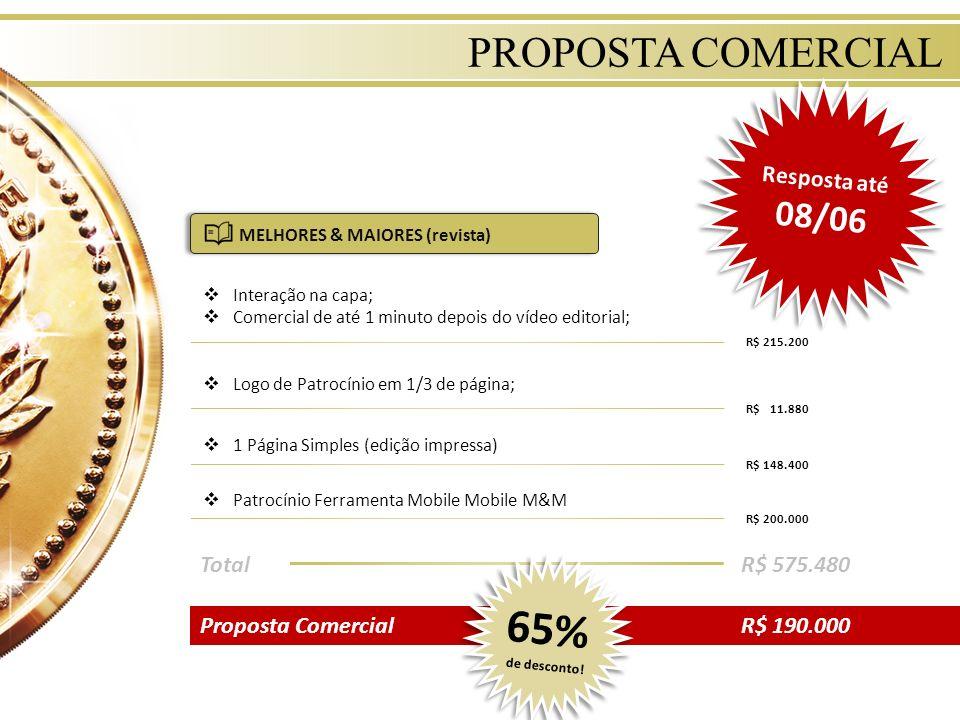 65% de desconto! PROPOSTA COMERCIAL Resposta até 08/06