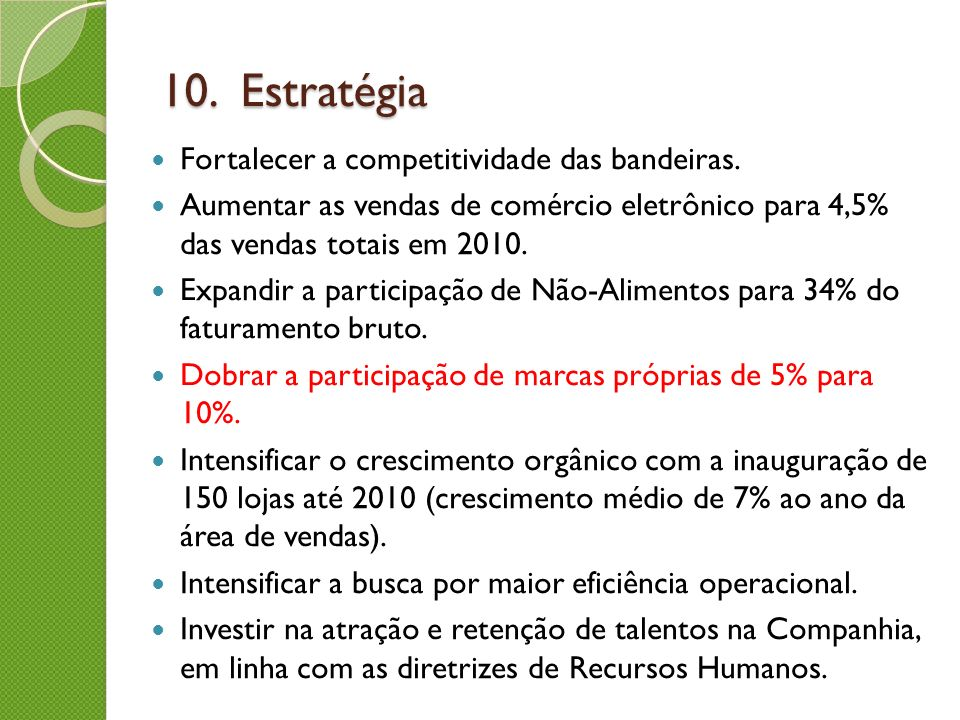 10. Estratégia Fortalecer a competitividade das bandeiras.