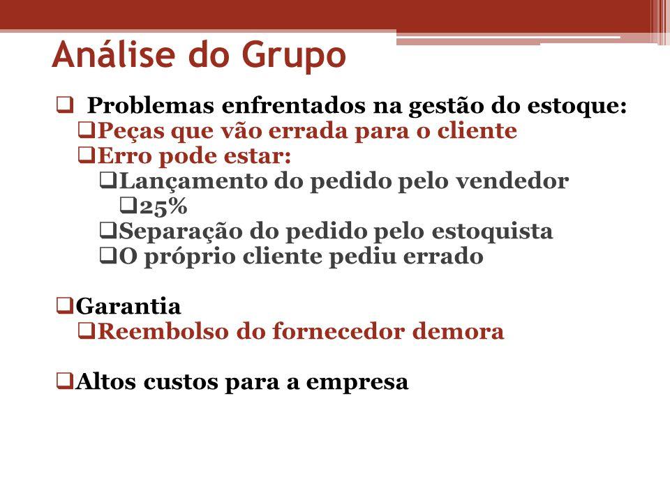 Análise do Grupo Problemas enfrentados na gestão do estoque: