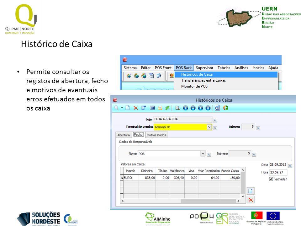 Histórico de Caixa Permite consultar os registos de abertura, fecho e motivos de eventuais erros efetuados em todos os caixa.