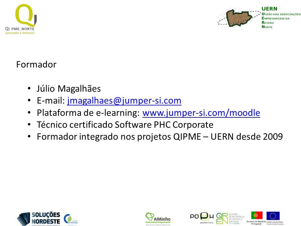 Formador Júlio Magalhães. E-mail: jmagalhaes@jumper-si.com. Plataforma de e-learning: www.jumper-si.com/moodle.