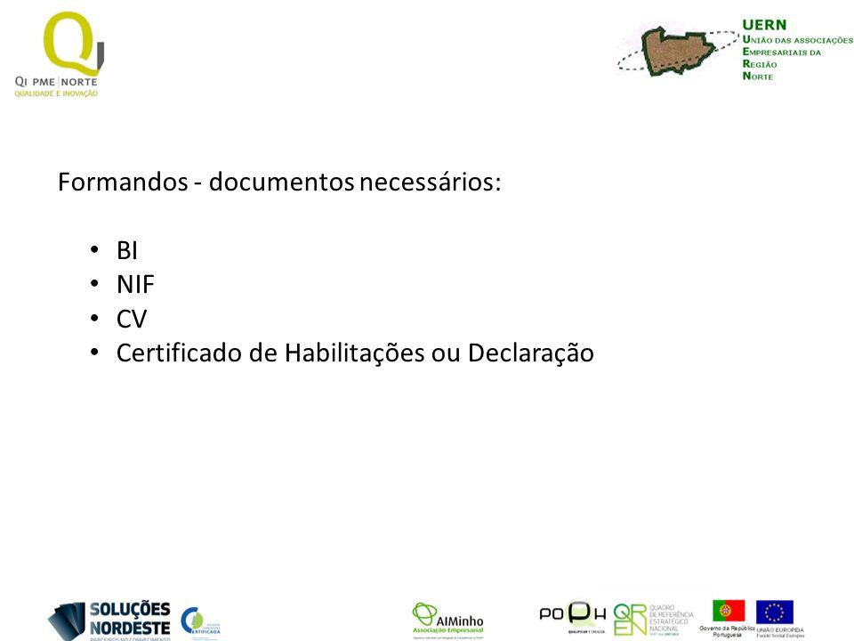 Formandos - documentos necessários: