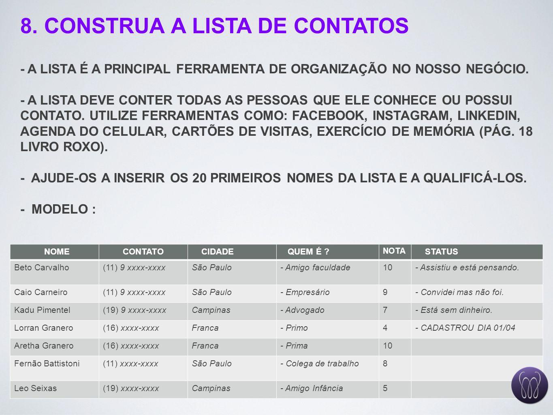 8. CONSTRUA A LISTA DE CONTATOS