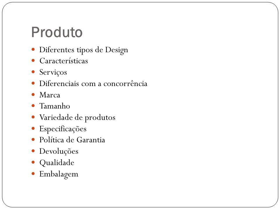 Produto Diferentes tipos de Design Características Serviços