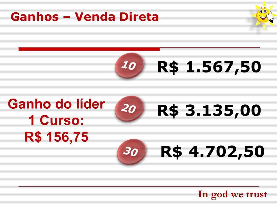 R$ 1.567,50 R$ 3.135,00 R$ 4.702,50 Ganho do líder 1 Curso: R$ 156,75