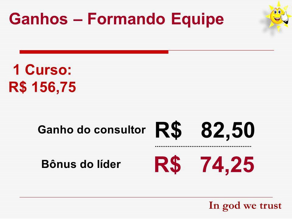 R$ 82,50 R$ 74,25 Ganhos – Formando Equipe 1 Curso: R$ 156,75
