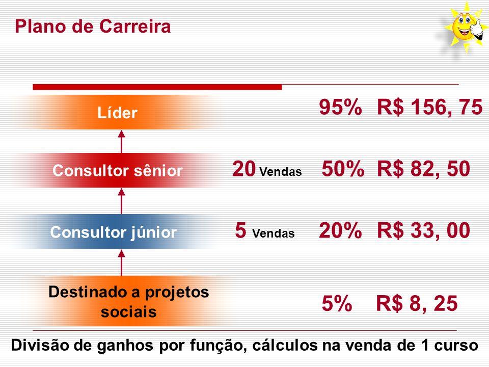 95% R$ 156, 75 20 Vendas 50% R$ 82, 50 5 Vendas 20% R$ 33, 00 5%