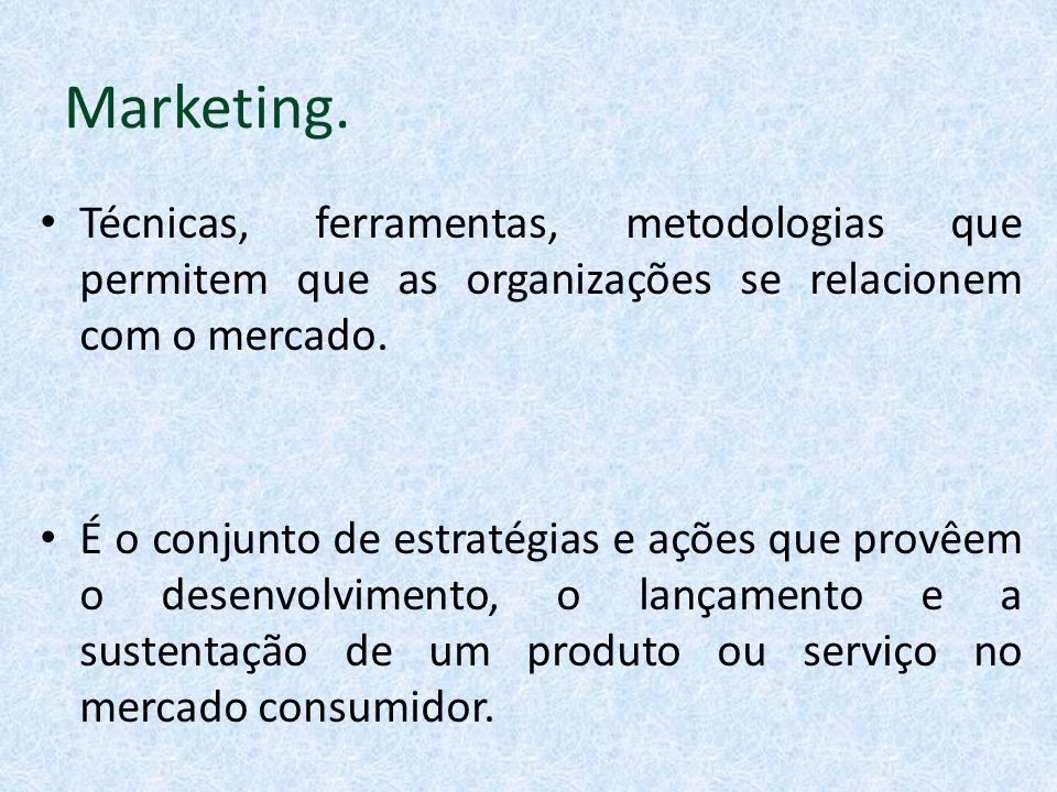Marketing. Técnicas, ferramentas, metodologias que permitem que as organizações se relacionem com o mercado.