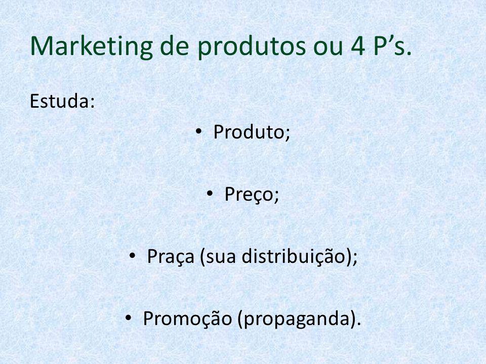 Marketing de produtos ou 4 P's.