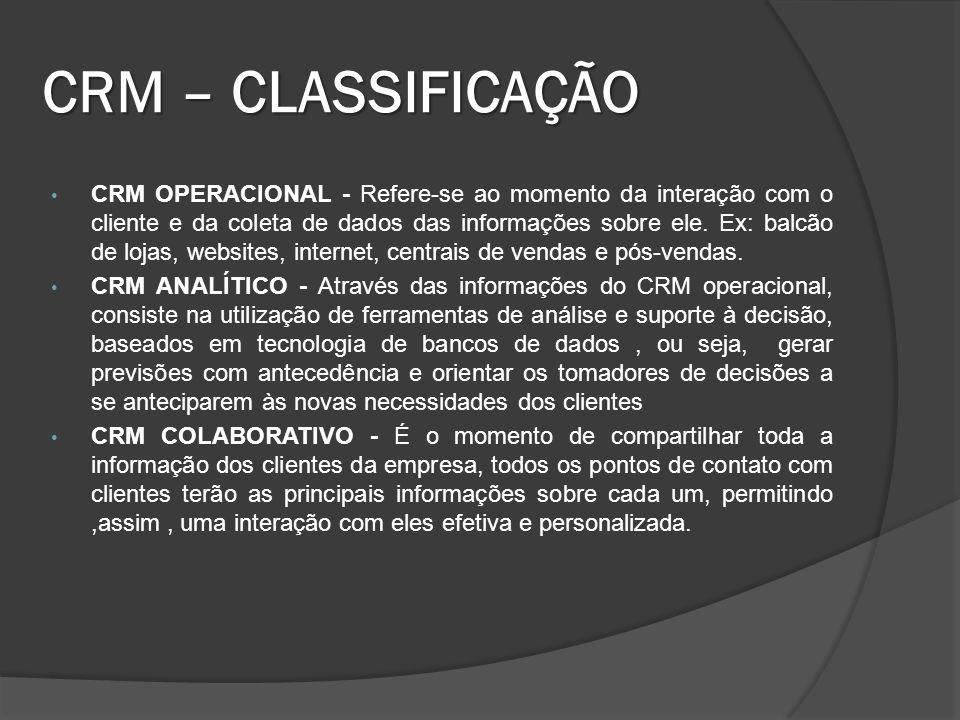 CRM – CLASSIFICAÇÃO
