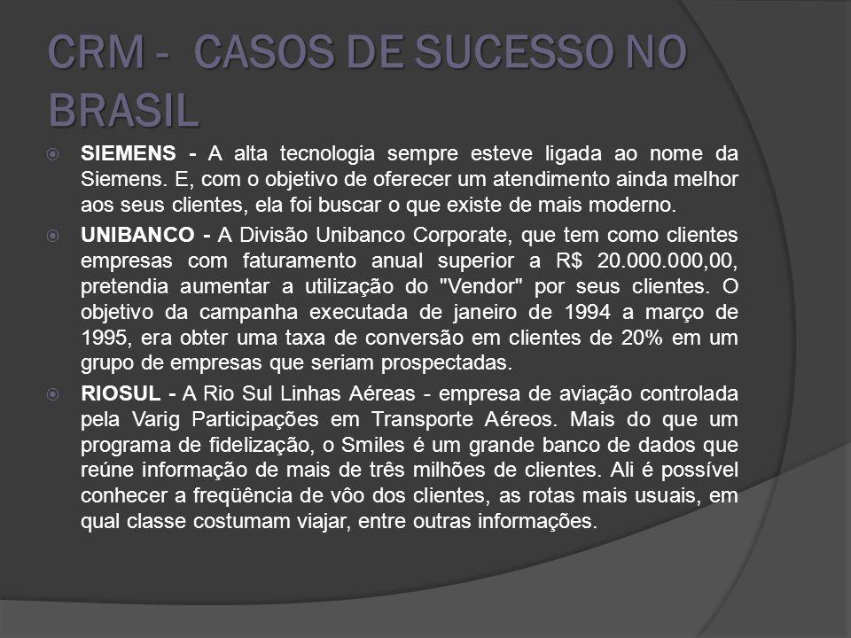 CRM - CASOS DE SUCESSO NO BRASIL