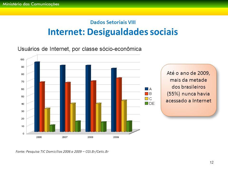 Dados Setoriais VIII Internet: Desigualdades sociais