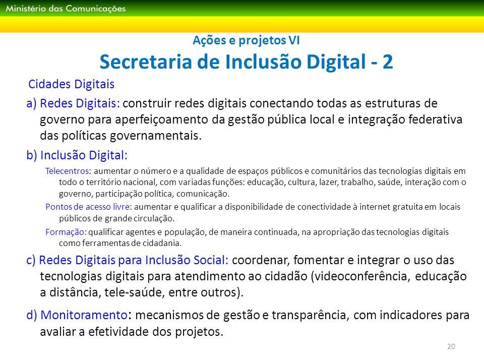 Ações e projetos VI Secretaria de Inclusão Digital - 2