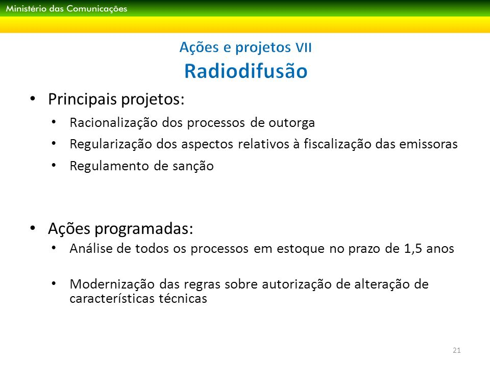 Ações e projetos VII Radiodifusão