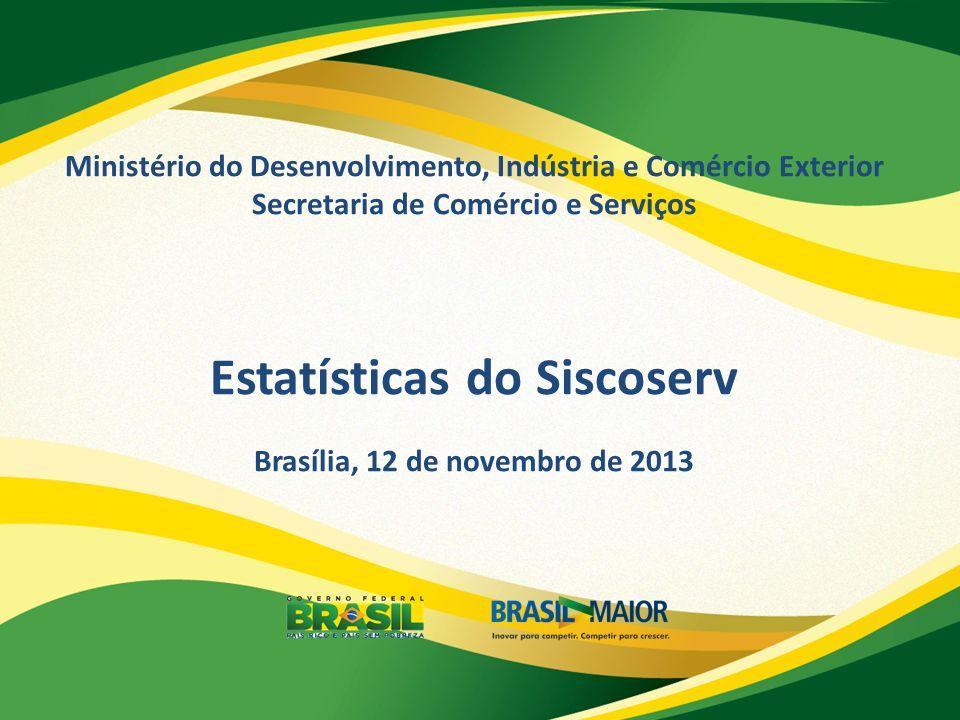 Ministério do Desenvolvimento, Indústria e Comércio Exterior Secretaria de Comércio e Serviços Estatísticas do Siscoserv Brasília, 12 de novembro de 2013