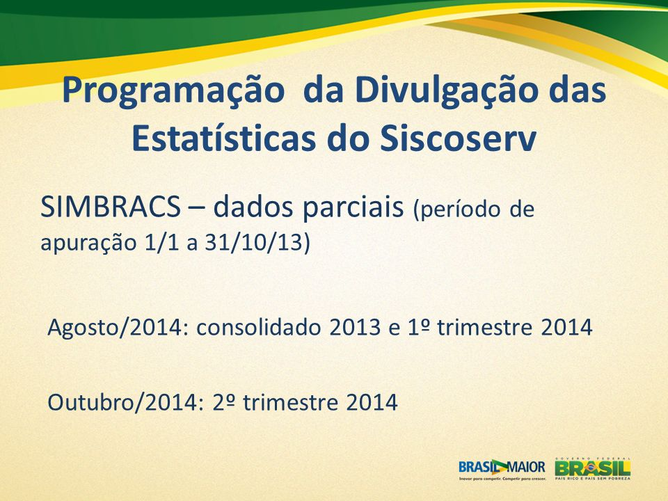 Programação da Divulgação das Estatísticas do Siscoserv